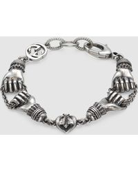 Gucci - Bracelet In Silver With Hand Motif - Lyst
