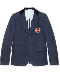 Gucci - Cambridge Felt Jacket With Crest - Lyst
