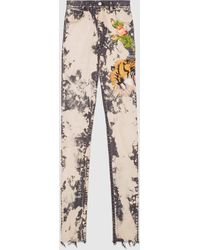 Gucci - Embroidered Stretch Denim Skinny Pant - Lyst