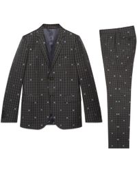 Gucci - Monaco Anzug aus karierter Wolle mit Bienen - Lyst
