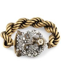 Gucci - Feline Head Bracelet With Crystals - Lyst