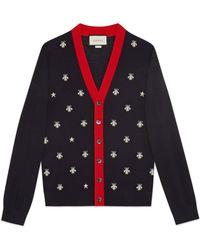 Gucci - Cardigan aus Wolle mit Bienen und Sternen - Lyst