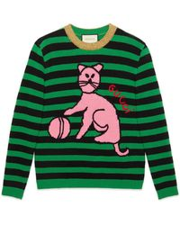Gucci - Sweater With Cat And Baseball - Lyst