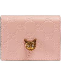 Gucci - Signature Card Case With Cat - Lyst