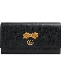 Gucci - Leather Continental Wallet With Bow - Lyst