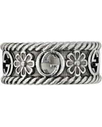 Gucci - Interlocking G Silver Ring - Lyst