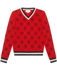 Gucci - Tiger Argyle Wool Sweater - Lyst
