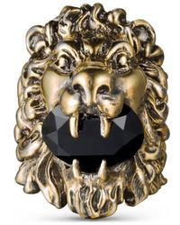 Gucci - Lion Head Ring With Swarovski - Lyst