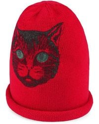 a427680c525 Gucci Wool Hat With Mystic Cat in Red - Lyst