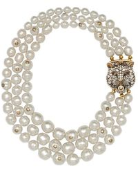Gucci - Layered Pearl Necklace With Feline Closure - Lyst