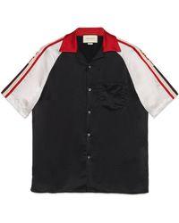 Gucci - Contrast-panel Satin Shirt - Lyst