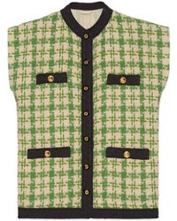 Gucci - Green And Beige Tweed Button Vest - Lyst