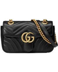 59392f251e42 Lyst - Gucci Gg Marmont Matelassã© Shoulder Bag in Black - Save 68%