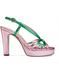 6fa83ca01fa Lyst - Gucci Leather Mid-heel T-strap Sandal in Brown