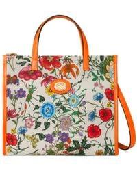 49d2df98dbd Lyst - Gucci Nymphaea New Flora Leather Mini Bag in Blue