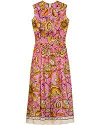 Gucci - Robe en soie à imprimé fleurs effet aquarelle - Lyst
