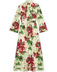 Gucci - Belted Dress With Poppy Print - Lyst