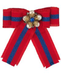 Gucci - Web Grosgrain Bow Brooch - Lyst