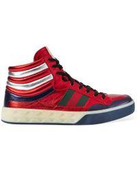 Gucci - Metallic Leather High-top Sneaker - Lyst