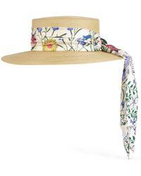 Gucci - Cappello in paglia con nastro New Flora - Lyst f6166ba91424