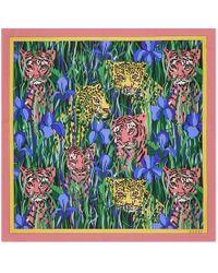 Gucci Silk Scarf With Feline Garden Print