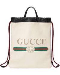 Gucci - Kleiner Rucksack mit Zugband mit Print - Lyst