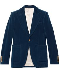 be2f294d4 Gucci Velvet Corduroy Jacket in Blue for Men - Lyst