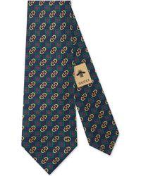 Gucci - Cravate en soie à imprimé losanges avec étriers - Lyst