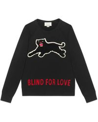 Gucci - Cotton Sweatshirt With Panther - Lyst