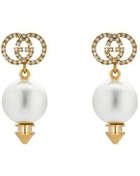 Gucci - Interlocking G Earrings With Pearl - Lyst