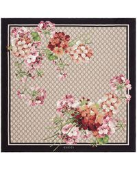 Gucci - Gg Blooms Print Silk Scarf - Lyst