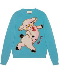 Gucci - Women's Wool Jumper With Piglet - Lyst