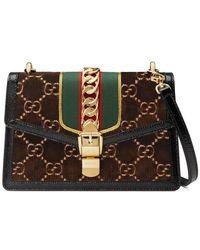 2ca1dcdcb18 Lyst - Gucci Sylvie Gg Velvet Small Shoulder Bag in Black