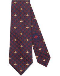 Gucci - Cravate en soie à motif GG et abeilles - Lyst