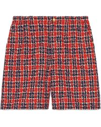 Gucci - Shorts in tweed a motivo scozzese - Lyst
