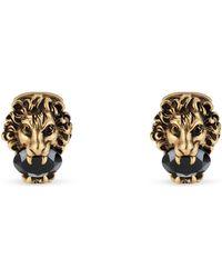 Gucci - Boutons de manchette tête de lion avec cristaux - Lyst
