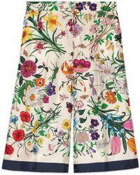 Gucci - Flora Silk Twill Pyjama Pant - Lyst