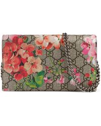26f9eb57bf5c Gucci - GG Blooms Supreme Chain Wallet - Lyst