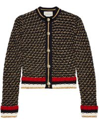 Gucci - Lurex Blend Cardigan With Web - Lyst