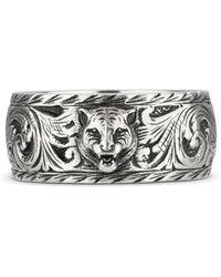 Gucci - Anillo fino de plata con cabeza felina - Lyst