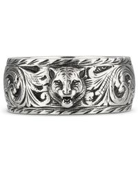 Gucci - - Thin Silver Ring With Feline Head - Lyst