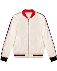 Gucci - Blouson aviateur en cuir perforé avec logo - Lyst