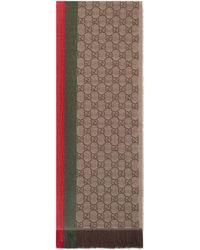 Gucci - Sciarpa in lana jacquard con motivo GG e Web - Lyst