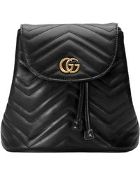 aac3b183cd4e Lyst - Gucci Marmont Chevron Backpack in Black