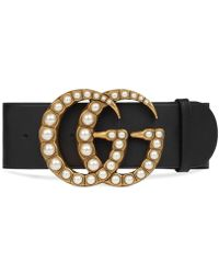 Gucci - Wide Leather Belt With Pearl Double G - Lyst