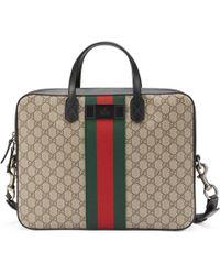 Gucci - Web Gg Supreme Briefcase - Lyst