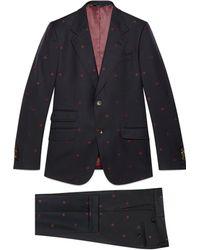 Gucci - Abito Heritage in gabardina di lana con api - Lyst
