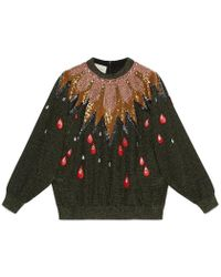 Gucci - Embroidered Knit Top - Lyst