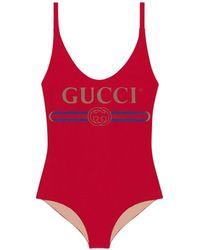 Gucci - Maillot de bain brillant avec logo - Lyst