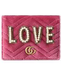 Gucci - Gg Marmont Embroidered Velvet Wallet - Lyst